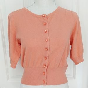 Boden coral cropped pearl button cardigan